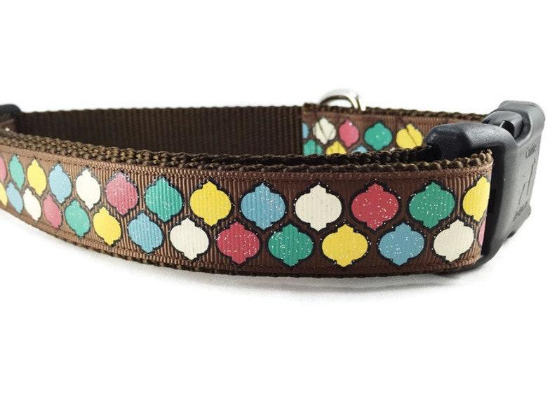 Thanksgiving Dog Collar Quatrefoil adjustable 1 inch image 0