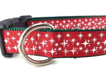 Christmas Dog Collar, Stars Red, 1 inch wide, adjustable, quick release, metal buckle, chain, martingale, hybrid, nylon