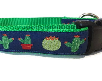 Dog Collar, Cactus, adjustable, 1 inch, medium, 13-19 inches, heavy nylon, quick release buckle