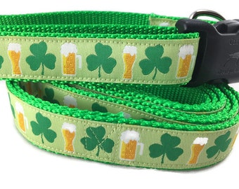 Dog Collar and Leash, Shamrocks and Beer, 1 inch wide, 6ft, adjustable, quick release, metal buckle, chain, martingale, hybrid, nylon