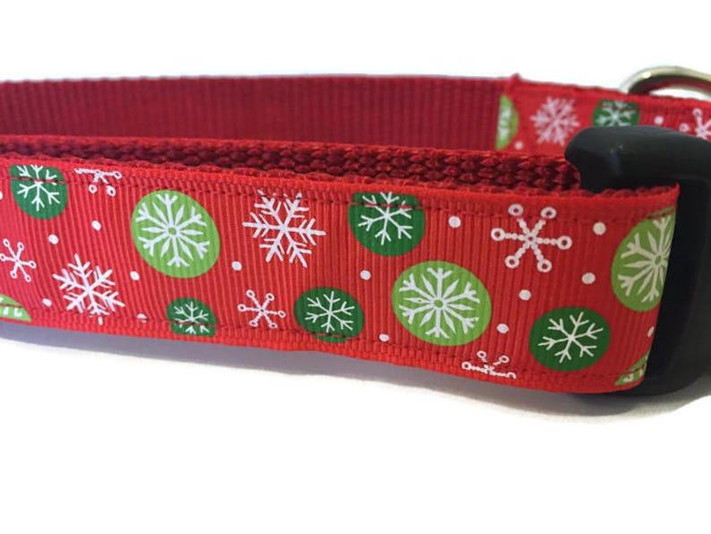 Christmas Dog Collar Red Snowflakes  adjustable 1 inch image 0