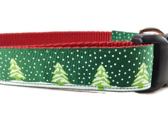 Christmas Dog Collar, Green Trees, 1 inch wide, adjustable, quick release, metal buckle, martingale, chain, hybrid, nylon