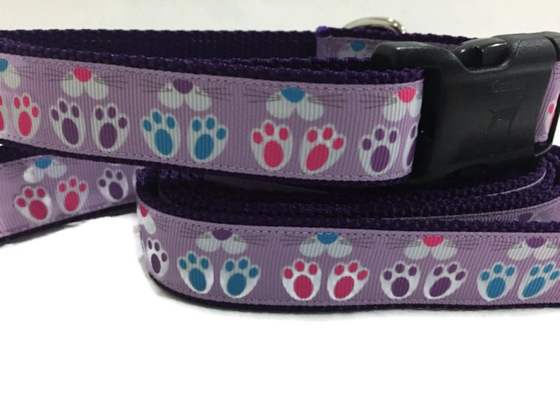 Easter Dog Collar and Leash Bunny Feet 1 inch wide 6 foot image 0