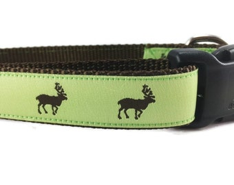 Dog Collar, Moose, 1 inch wide, adjustable, quick release, metal buckle, chain, martingale, hybrid, nylon