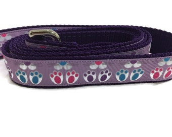 Easter Dog Leash, Bunny Feet, 1 inch wide, 1 foot, 4 foot, or 6 foot