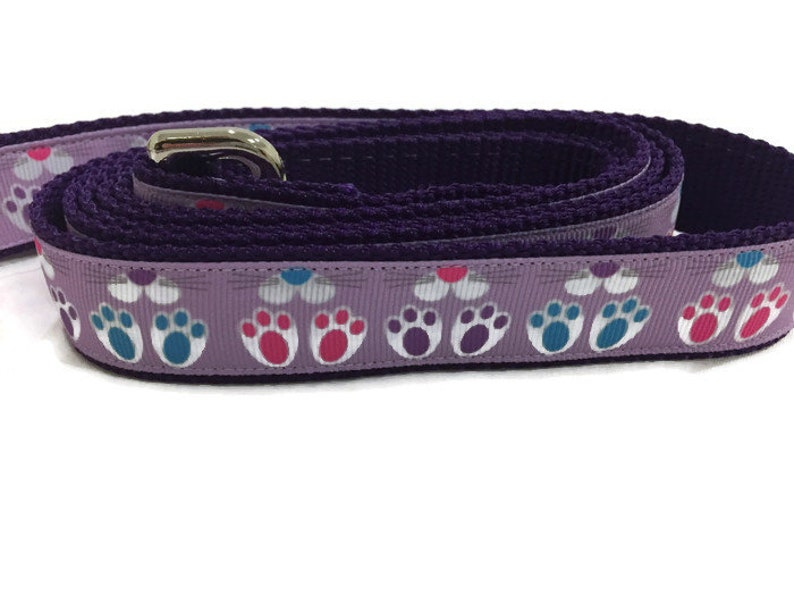 Easter Dog Leash Bunny Feet 1 inch wide 1 foot 4 foot or image 0