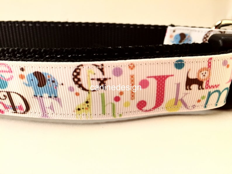 Dog Collar Alphabet 1 inch wide adjustable quick release image 0