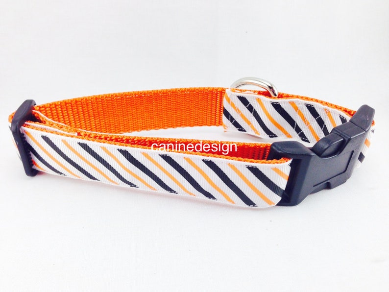 Halloween Dog Collar Stripes 1 inch wide adjustable small image 0