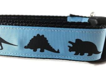 Dog Collar and Leash, Blue Dinosaur, Dino,6ft leash, 1 inch wide, adjustable, quick release, metal buckle, chain, martingale, hybrid, nylon