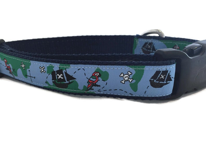 Dog Collar Pirates 1 inch wide adjustable quick release image 0