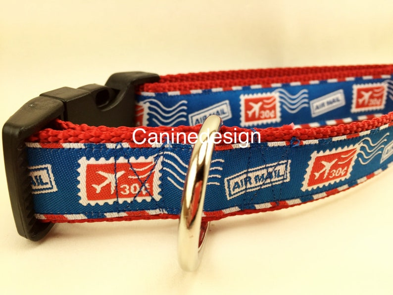 Dog Collar Airmail 1 inch wide adjustable quick release image 0