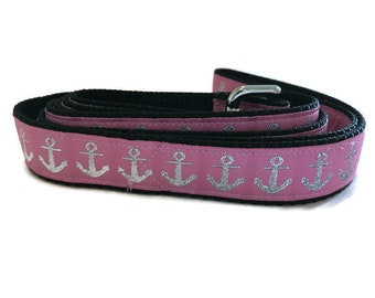 Dog Leash, Pink Anchors, 1 inch wide, 1 foot, 4 foot, or 6 foot