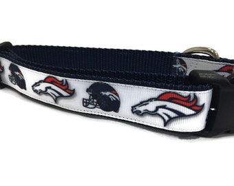 Dog Collar, Denver Broncos, 1 inch wide, adjustable, small, 13-19 inches