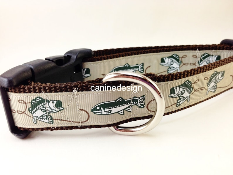 Dog Collar Fish 1 inch wide adjustable quick release image 0