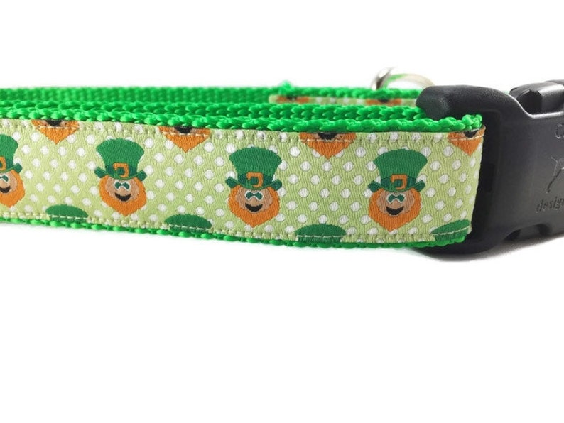 Dog Collar and Leash Leprechaun 1 inch wide 6ft image 0