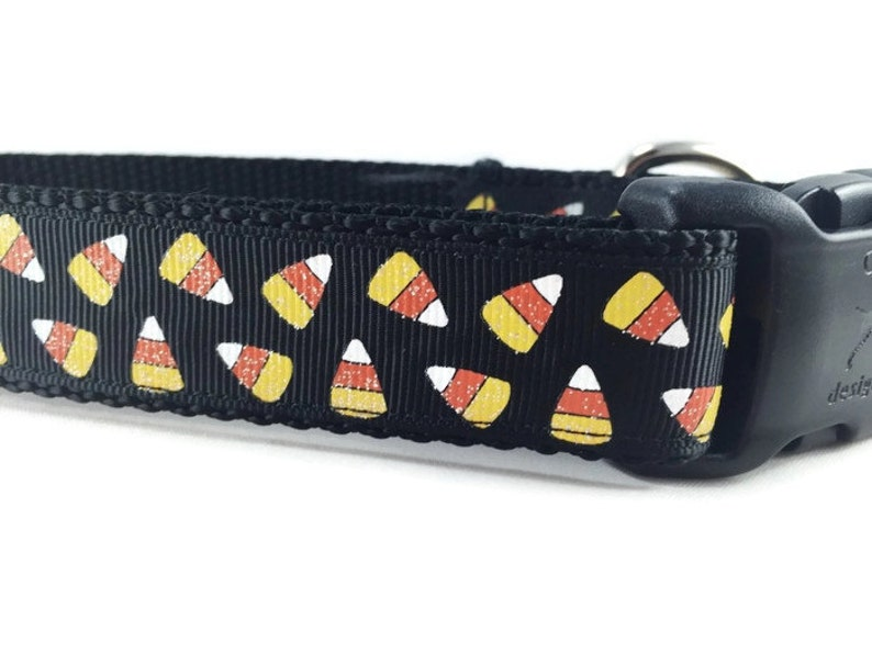 Halloween Dog Collar Candy Corn 1 inch wide adjustable image 0