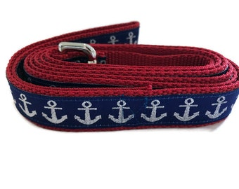 Dog Leash, Blue Anchors, 1 inch wide, 1 foot, 4 foot, or 6 foot