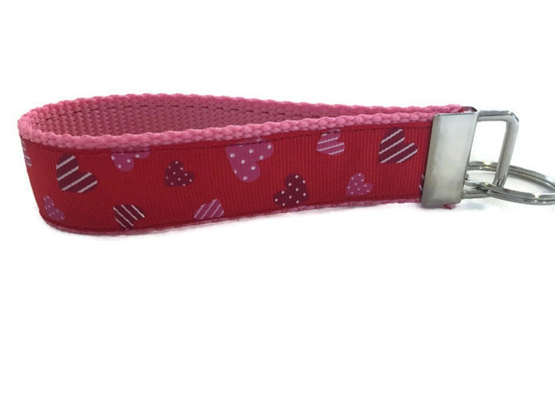Patterns Hearts on Red Keychain Key fob Wristlet image 0
