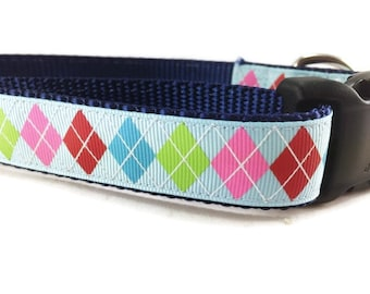 Dog Collar, Blue Argyle, 1 inch wide, adjustable, quick release, metal buckle, chain, martingale, hybrid, nylon