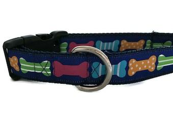 Dog Collar, Dog Bones, 1 inch wide, adjustable, quick release, metal buckle, chain, martingale, hybrid, nylon