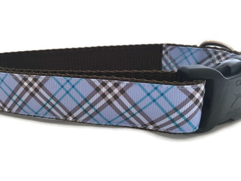 Dog Collar Blue Plaid 1 inch wide adjustable quick image 0