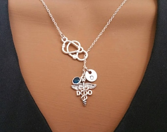 MA Medical Assistant Gift Crystal Birthstone Lariat Style Necklace