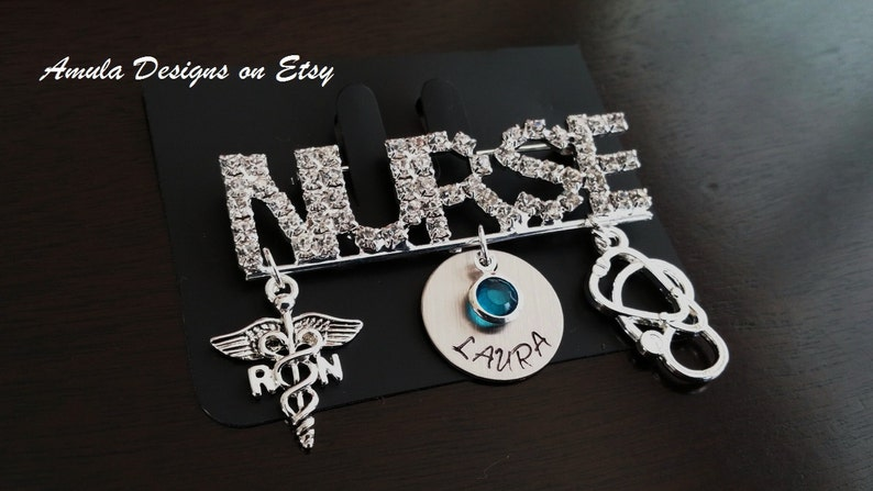Pinning Ceremony RN Pin Nurse Pin Registered Nurse RN Medical Stethoscope Handstamped Graduation Gift Personalized Birthstone Pin