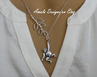 Antique Silver Monkey Lariat Necklace