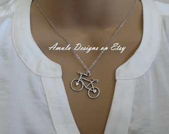 Antique Silver Bicycle Necklace