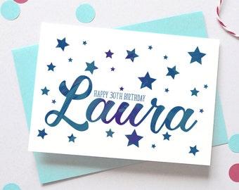 Calligraphy Stars Birthday Card – Personalised Birthday Card – Birthday card for daughter - Birthday card for son - birthday card for friend