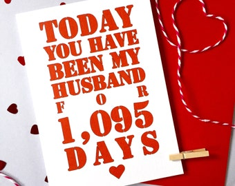 Days You've Been My Husband Card – Personalised Anniversary Card – Card for Husband –birthday card for husband – Christmas card for husband