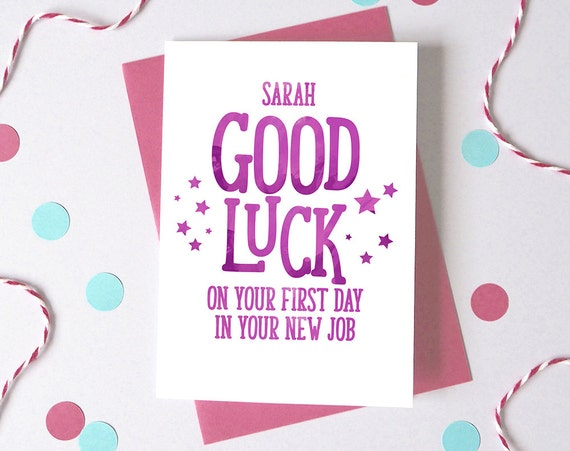 Good Luck At New Job Personalised First Day At Work Card Etsy