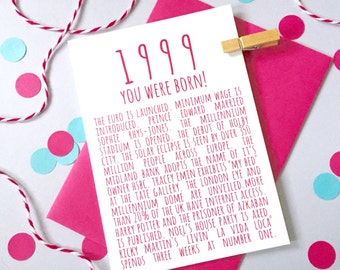 1999 Facts Anniversary or Birthday Card – Personalised Anniversary Card - Birthday Card for Son - Birthday Card for Daughter