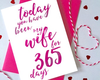 Days You've Been My Wife Calligraphy Card – Personalised Anniversary Card – Card for Wife – birthday card for wife – Christmas card for wife