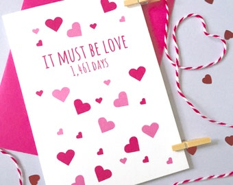 Must Be Love Days Card – Personalised Anniversary Card – Card for Husband/Wife – birthday card for husband/wife – Christmas card for husband