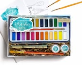 DIY Watercolor Kit for Beginners - Instruction Book & Supplies Watercolor Set- Wildflower Art Studio Workshop-in-a-Box • Kids, Teens, Adults