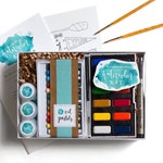 """DIY Watercolor Kit for Beginners - Includes Instructions & Project Guides - Wildflower Art Studio """"Watercolor Workshop in a Box"""""""