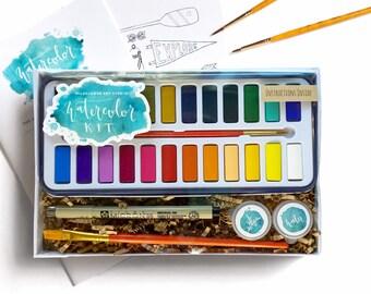 DIY Watercolor Kit for Beginners - Instruction Book & Supplies Watercolor Set- Wildflower Art Studio Workshop-in-a-Box • Kids, Teens, Adults