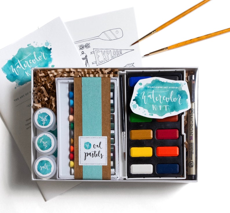 DIY Watercolor Kit for Beginners  Instruction Book & Supplies image 0