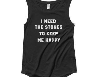 8def9c3d4d09e Womens Cap Sleeve Tank Tee Rolling Stones Vintage Style Fan T-Shirt