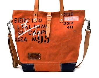 Canvas Shoulder Tote,Recycled Italian Military Duffel,Top Handle Tote,Crossbody Bag,Unisex Bag,Zipper Tote,Unique Tote Bag, peace4you 2128