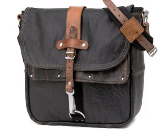 Black Leather Messenger Crossbody Bag  Recycled Leather Unisex Bag Durable Messenger Bag Notebook Upcycled Bag 2067 by peace4you Bags