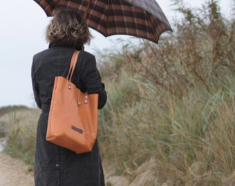 Leather Shopper, Everyday Bag, Market Bag, Unisex Tote,Leather Tote Bag, Vintage Tanned Leather, Minimal Look by peace4you  // 2217