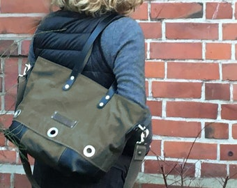 Olive Handbag, Recycled German Navy Kitbag, Tote Bag, Shoulder Bag, Cross Body Bag,Recycled Leather / Upcycled / Handmade in Europe / 1896