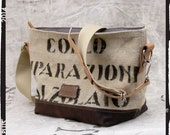 Beige Shoulder Bag Canvas Tote Bag Small Tote Bag Cross Body Tote Recycled Italian Military Canvas Leather Jacket 2072 by peace4you Bags