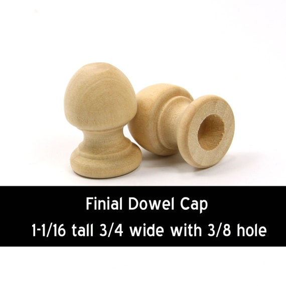 Unfinished Wood Finial Dowel Cap End 1 116 X 34 Inch With 38 Inch Hole Wooden Shape Ww Dc8043
