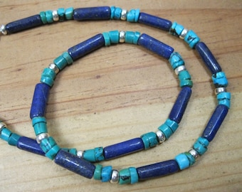 Lapis, Turquoise Sterling Silver Necklace, Mens Tribal Necklace, Native American Necklace, Blue Necklace, Native Necklace, Lapis Necklace
