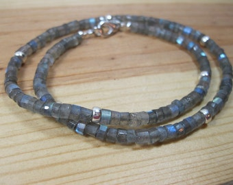 Labradorite Heishi, Sterling Silver Heishi Necklace, Heishi Necklace, Mens Beaded Necklace, Gemstone Necklace, Labradorite Necklace