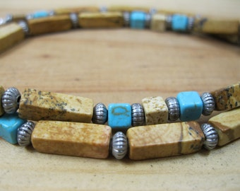 Picture Jasper, Turquoise Necklace, Native Necklace, Tribal Necklace, Ethnic Necklace, Native American Necklace, Mens Choker