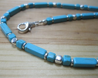 Blue Turquoise, Silver Necklace, Tribal Necklace, Mens Beaded Necklace, Native Necklace, Ethnic Necklace, Mens Choker, Turquoise Necklace